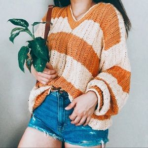 VINTAGE • handknit mustard striped chunky sweater